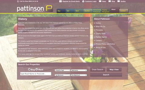 Screenshot of About Page pattinson.co.uk - History | Pattinson Estate Agents - captured Sept. 25, 2014