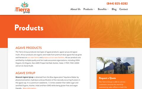 Screenshot of Products Page thetierragroup.com - Agave Products - captured July 6, 2018