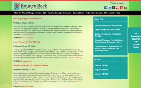 Screenshot of Blog bouncebackpt.com - Blog | Bounce Back - captured Nov. 3, 2014