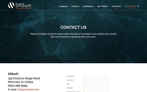 Screenshot of Contact Page srssoft.com - Contact Us - SRS Software - captured April 20, 2016