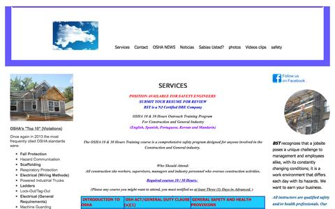 Screenshot of Services Page bilingualsafetytraining.com - BSeT - Services - captured Sept. 30, 2014