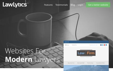 Screenshot of Home Page lawlytics.com - LawLytics | Websites For Modern Lawyers - captured June 17, 2015
