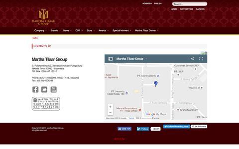 Screenshot of Contact Page marthatilaargroup.com - Martha Tilaar Group - Contact Us - captured Oct. 16, 2016