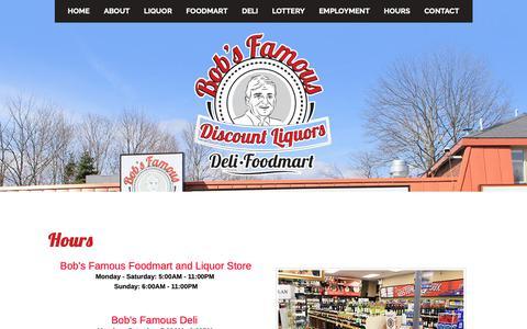 Screenshot of Hours Page bobsfamous.com - Bob's Famous Foodmart & Discount Liquors | Grocery, Deli | Liquor Store, | Stoughton, MA - captured Oct. 6, 2018