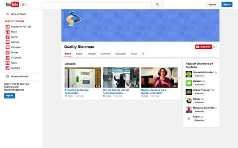 Screenshot of YouTube Page youtube.com - Quality Sistemas  - YouTube - captured Oct. 22, 2014