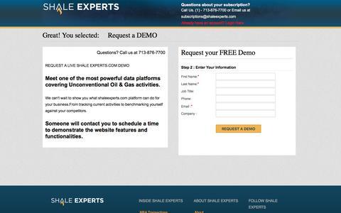 Screenshot of Trial Page shaleexperts.com - Shale Experts -   Member Subscription - captured Nov. 15, 2017