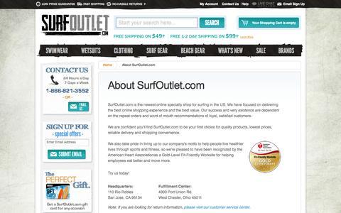 Screenshot of About Page surfoutlet.com - About SurfOutlet.com - The Web's Surf Shop - captured Sept. 19, 2014