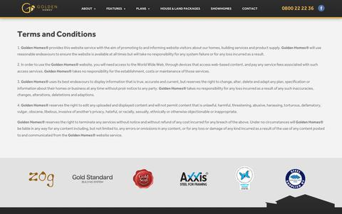 Screenshot of Terms Page goldenhomes.co.nz - Terms & Conditions - Golden Homes - captured July 5, 2016