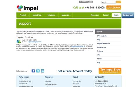 Screenshot of Support Page impelcrm.in - CRM, Impel CRM Support Overview- ImpelCRM - captured Sept. 19, 2014