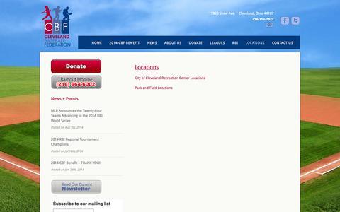 Screenshot of Locations Page cbfkids.org - Locations  @  Cleveland Baseball Federation - captured Oct. 1, 2014