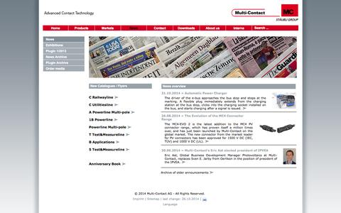 Screenshot of Press Page multi-contact.com - Multi-Contact AG - News - captured Oct. 26, 2014