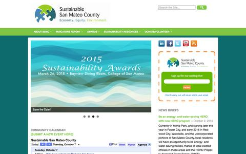 Screenshot of Home Page sustainablesanmateo.org captured Oct. 7, 2014