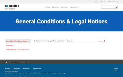 Screenshot of Terms Page kochheattransfer.com - General Conditions & Legal Notices - Koch Heat Transfer - captured Sept. 20, 2018