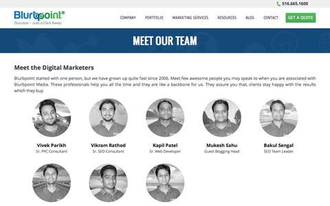 Screenshot of Team Page blurbpoint.com - Meet the Team - Blurbpoint - captured Sept. 22, 2018