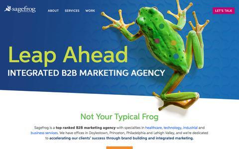 Screenshot of Home Page sagefrog.com - B2B Marketing Agency   Sagefrog Marketing Group - Philadelphia, PA - captured Feb. 22, 2020