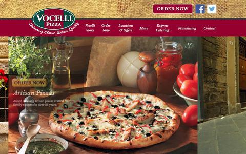 Screenshot of Home Page vocellipizza.com - Vocelli Pizza - captured Sept. 18, 2014