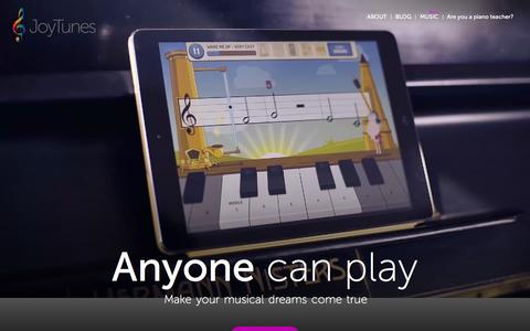 Screenshot of Home Page joytunes.com - Anyone can play music   JoyTunes - captured Feb. 7, 2016