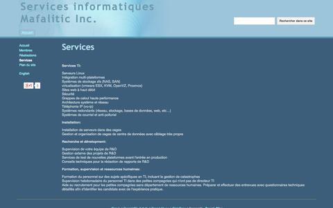 Screenshot of Services Page mafalitic.com - Services - Services informatiques Mafalitic Inc. - captured Oct. 4, 2014
