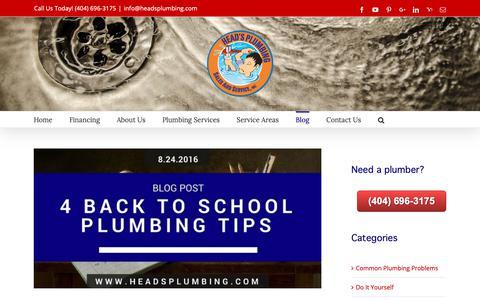 Screenshot of Blog headsplumbing.com - Plumbing Blog | Atlanta Plumber | Head's Plumbing Sales and Service, Inc. - captured Nov. 10, 2018
