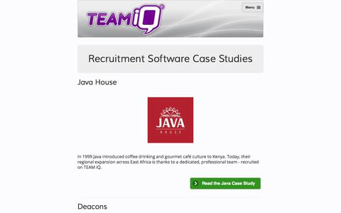 Screenshot of Case Studies Page teamiq.com - Recruitment Software Case Studies - captured Nov. 8, 2017