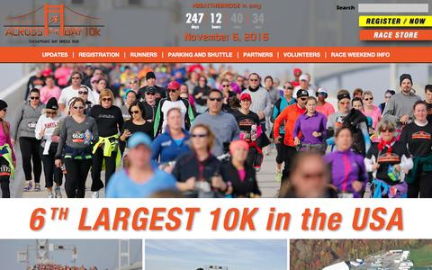 Screenshot of Home Page bridgerace.com - 10k race across the Chesapeake Bay Bridge - captured March 3, 2016