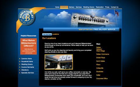 Screenshot of Locations Page bibbentuckers.com - Our Locations - Bibbentuckers Dry Cleaners - captured Oct. 5, 2014