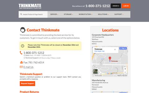 Screenshot of Contact Page thinkmate.com - Contact - Thinkmate - captured Nov. 20, 2017