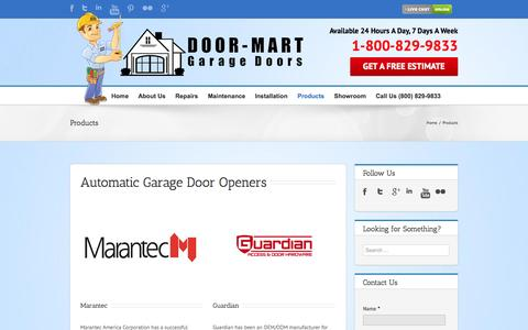 Screenshot of Products Page doormartgaragedoors.com - Products - Door-Mart Garage Doors - captured Sept. 26, 2014