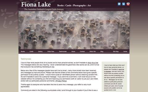 Screenshot of Testimonials Page fionalake.com.au - Australian coffee table books, outback cattle station photos, country landscapes - Fiona Lake - captured Sept. 19, 2014