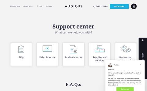Screenshot of FAQ Page audicus.com - Audicus says… - captured Nov. 4, 2018