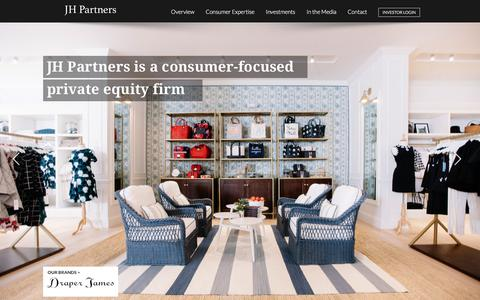 Screenshot of Home Page jhpartners.com - San Francisco based private equity firm specializing in consumer products - captured July 25, 2018