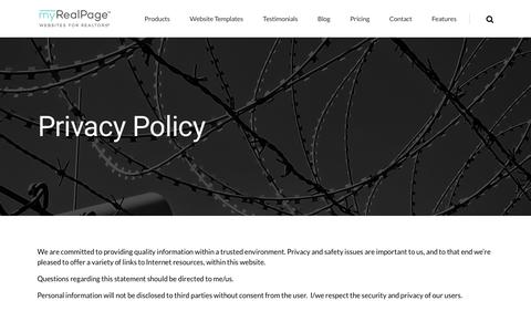 Screenshot of Privacy Page myrealpage.com - Privacy Policy - captured June 27, 2017