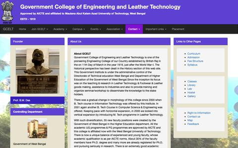 Screenshot of About Page gcelt.gov.in - Aboutus -  Government College of Engineering and Leather Technology - captured Oct. 26, 2018