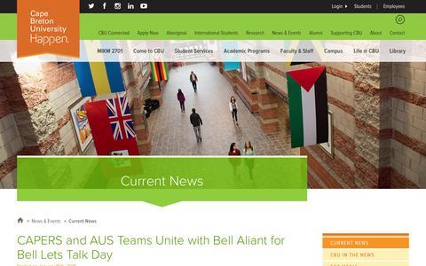 Screenshot of Press Page cbu.ca - Current News | Cape Breton University - captured Jan. 18, 2016