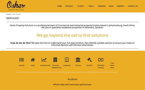 Screenshot of Services Page osher.co.za captured Oct. 19, 2018