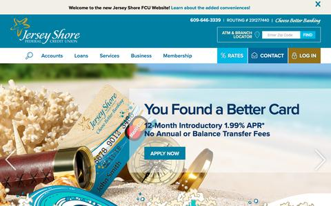 Screenshot of Home Page jerseyshorefcu.org - Jersey Shore Federal Credit Union - captured Oct. 7, 2018