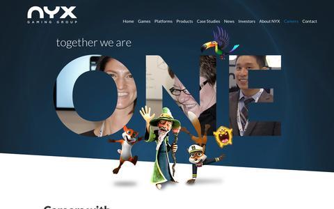 Screenshot of Jobs Page nyxgaminggroup.com - Careers | NYX Gaming - captured Feb. 13, 2016