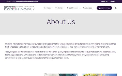 Screenshot of About Page womensinternational.com - About Us | Women's International Pharmacy - captured Nov. 5, 2019
