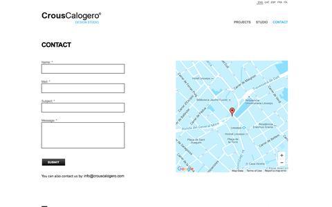 Screenshot of Contact Page crouscalogero.com - CONTACT - CrousCalogero Design Studio - captured Dec. 13, 2015