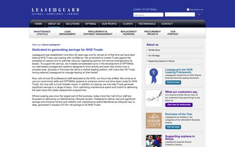 Screenshot of About Page leaseguardonline.com - Leaseguard. Savings, Control & Compliance for the NHS - captured Oct. 2, 2014
