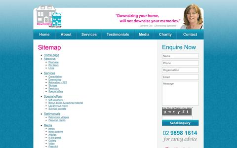 Screenshot of Site Map Page downsizingwithease.com.au - Sitemap - Downsizing With Ease - captured Sept. 30, 2014