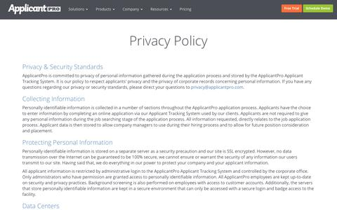 Privacy Policy | ApplicantPro