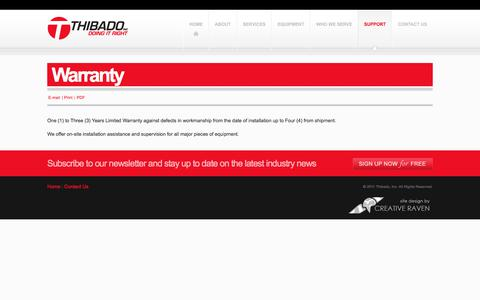 Screenshot of Support Page thibado.com - Warranty - captured June 17, 2017