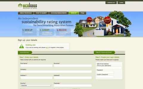 Screenshot of Signup Page ecohaus.com.au - Ecohaus | Sign Up - captured Oct. 1, 2014