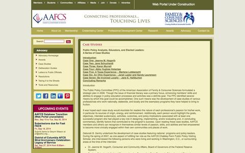 Screenshot of Case Studies Page aafcs.org - American Association of Family & Consumer Sciences (AAFCS) - captured Sept. 22, 2014
