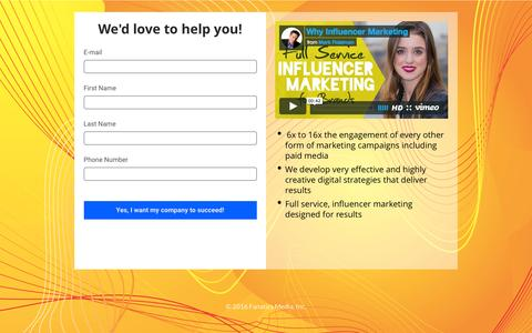 Screenshot of Landing Page fanaticsmedia.com - Influencer Marketing Contact Us - captured Sept. 8, 2016
