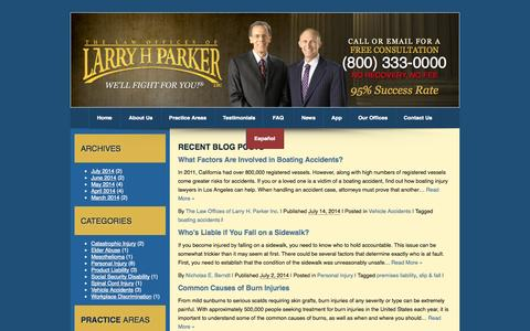 Screenshot of Blog larryhparker.com - What Factors Are Involved in Boating Accidents? - captured Sept. 18, 2014