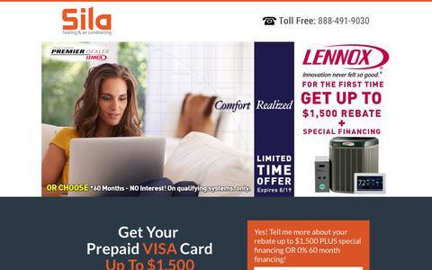 Screenshot of Landing Page sila.com - Special Lennox Rebate Offer - captured Aug. 19, 2016