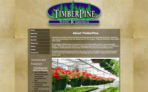 Screenshot of About Page timberpine.com - TimberPine About Us - captured Oct. 7, 2014