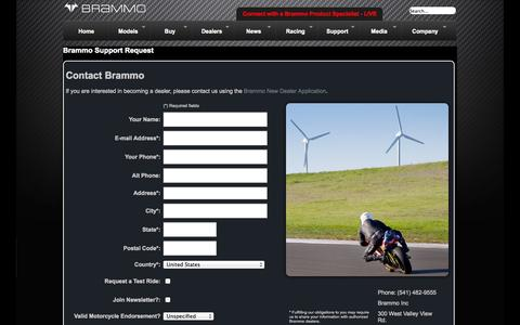 Screenshot of Support Page brammo.com - Brammo Company Information - captured Sept. 13, 2014